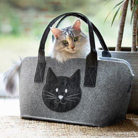 Tasche und Henkel dunkelgrau Katzenkopf Motiv in hellgrau, Shopper, Stofftasche