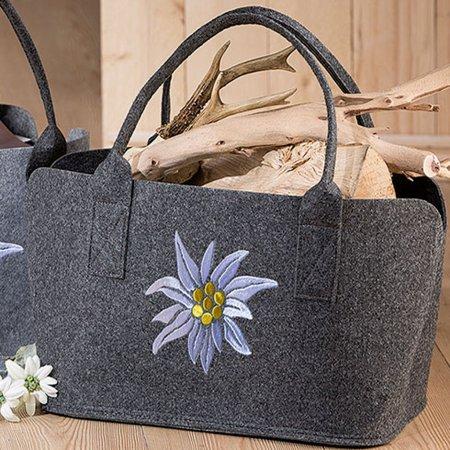 praktischer Helfer im Alltag Edelweiß Filztasche dunkelgrau bestickt weiß gelb Einkaufstasche