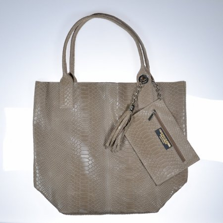 Handtasche Leder beige Kroko Optik Made in Italy