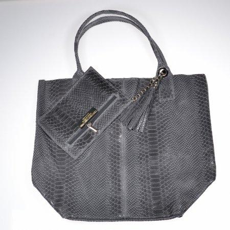 Handtasche Leder grau Kroko Optik Made in Italy