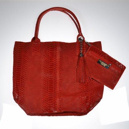 Handtasche Leder rot Kroko Optik Made in Italy