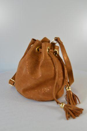 Beuteltasche Wildleder hellbraun Schultertasche Bucket Bag