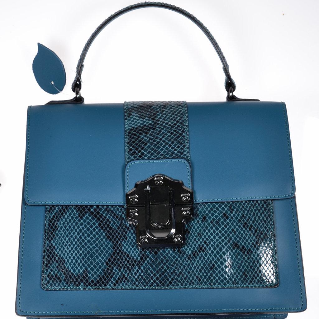 f0335b87b3c49 Leder Handtasche petrol Schlangenlederoptik Made in Italy