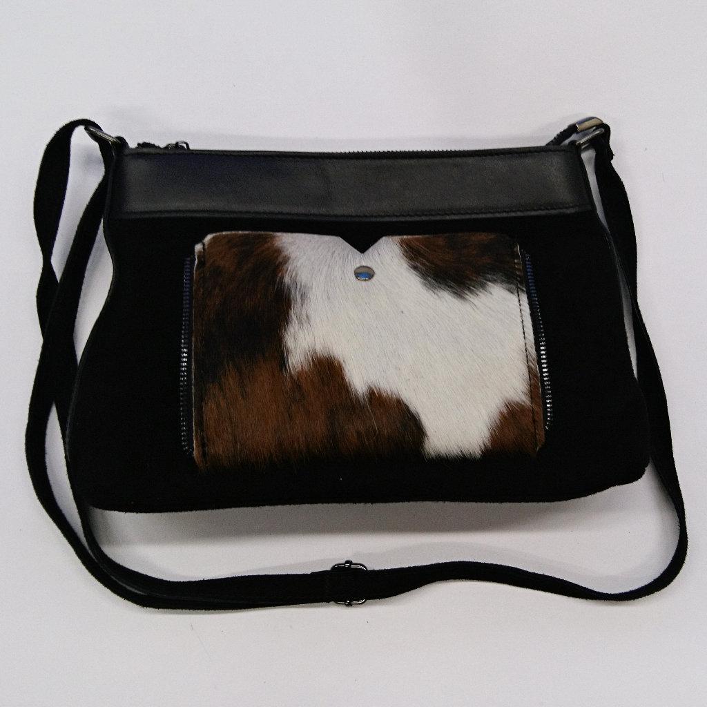 eebdcc0c4def6 Wildleder Handtasche mit Kuhfell in schwarz - schicke Schultertasche