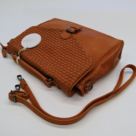 Damentasche hellbraun cognac Schultertasche Collegetasche Business Style Flechtoptik