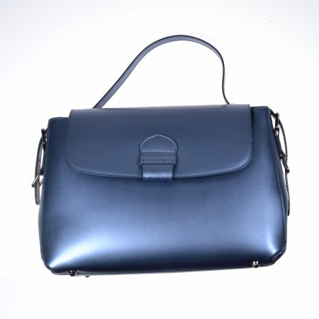 Damenhandtasche Echtledertasche blau metallic Made in Italy Henkeltasche