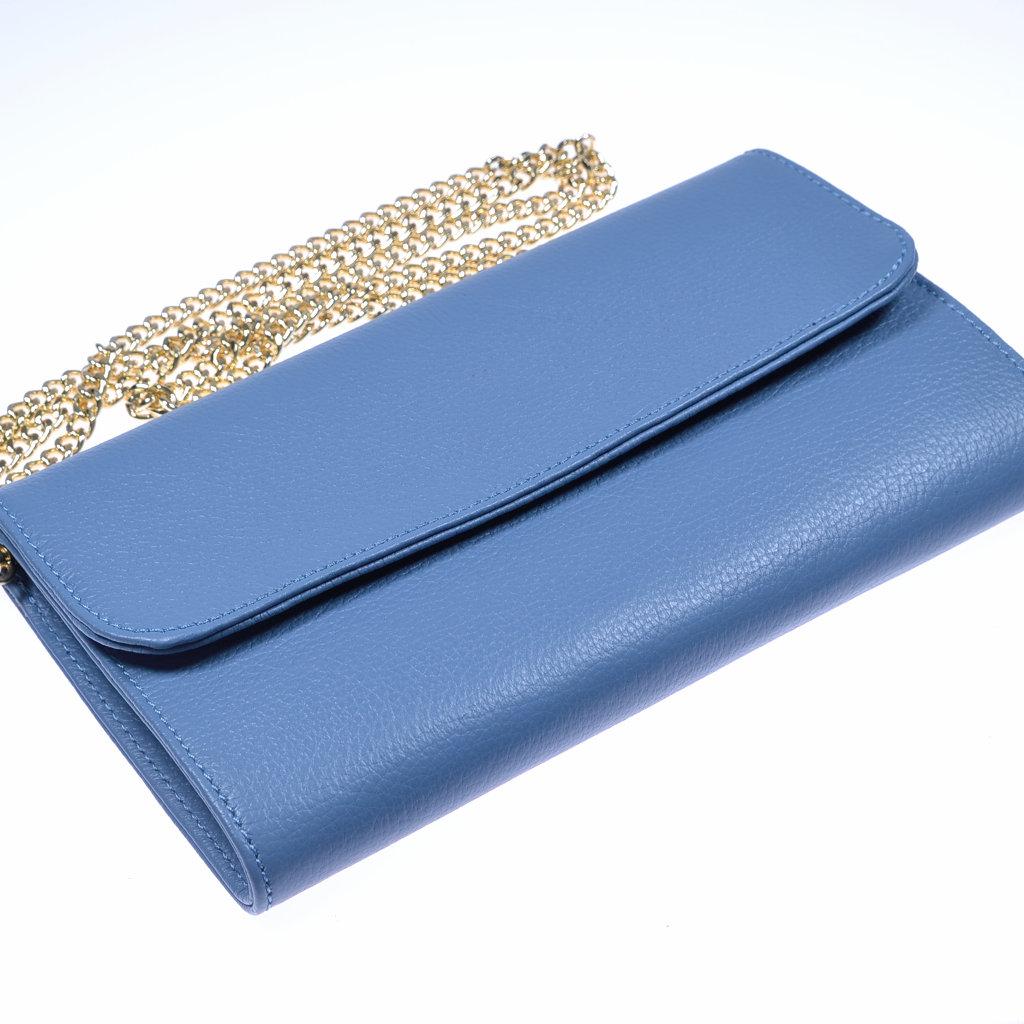 85663ceb30971 Damenhandtasche als Clutch aus Leder in blau - elegante Abendtasche