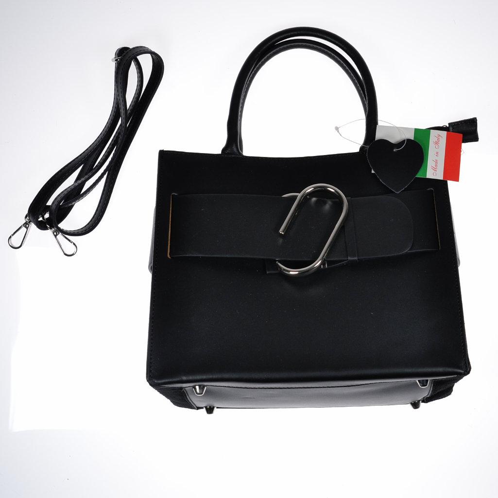 echtleder handtasche schwarz made in italy glattleder mit. Black Bedroom Furniture Sets. Home Design Ideas