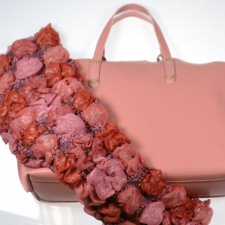Damenhandtasche Innentasche Glattleder Pink Schal