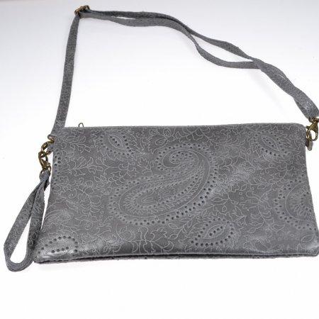 Clutch Leder grau Handgelenktasche Abendtasche Umhängetasche Damen