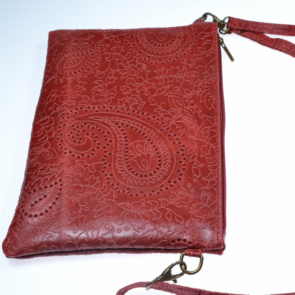 Clutch Leder rot Handgelenktasche Abendtasche Umhängetasche