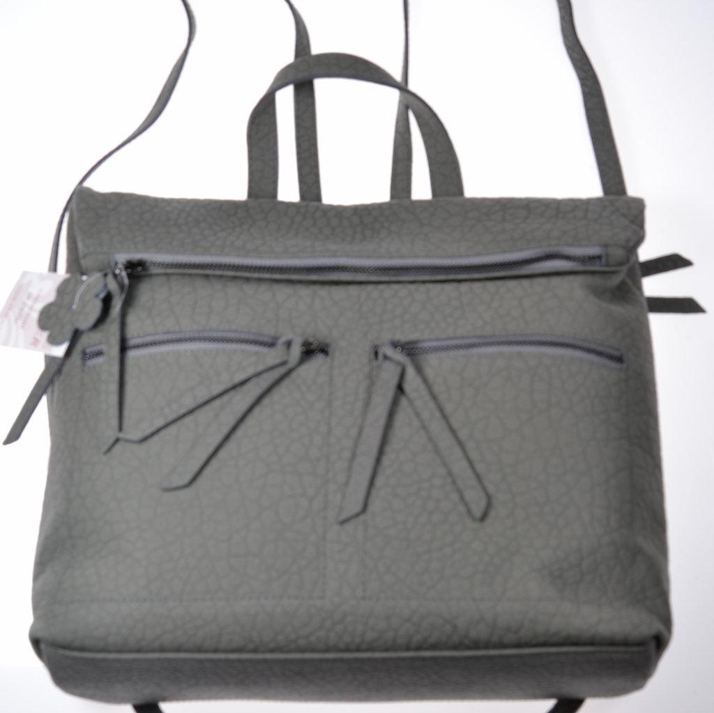 Damen Rucksack Handtasche dunkelgrau groß Shopper