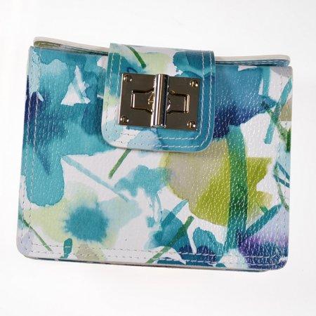 Damenhandtasche Farbe türkis weiß Ledertasche Crossover Tasche Minibag