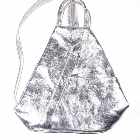 Damenrucksack Handtasche Echtleder silberfarben Trapezrucksack