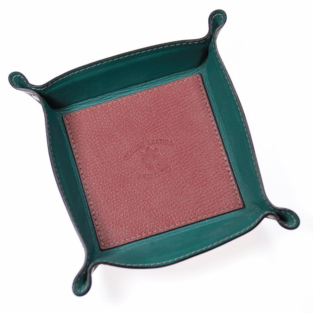Aufbewahrungsschale echtes Leder grün rot dunkelbraun quadratisch Unikat