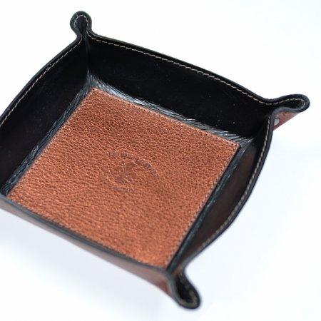 Aufbewahrungsschale Echtleder rostfarben metallic viereckig Unikat