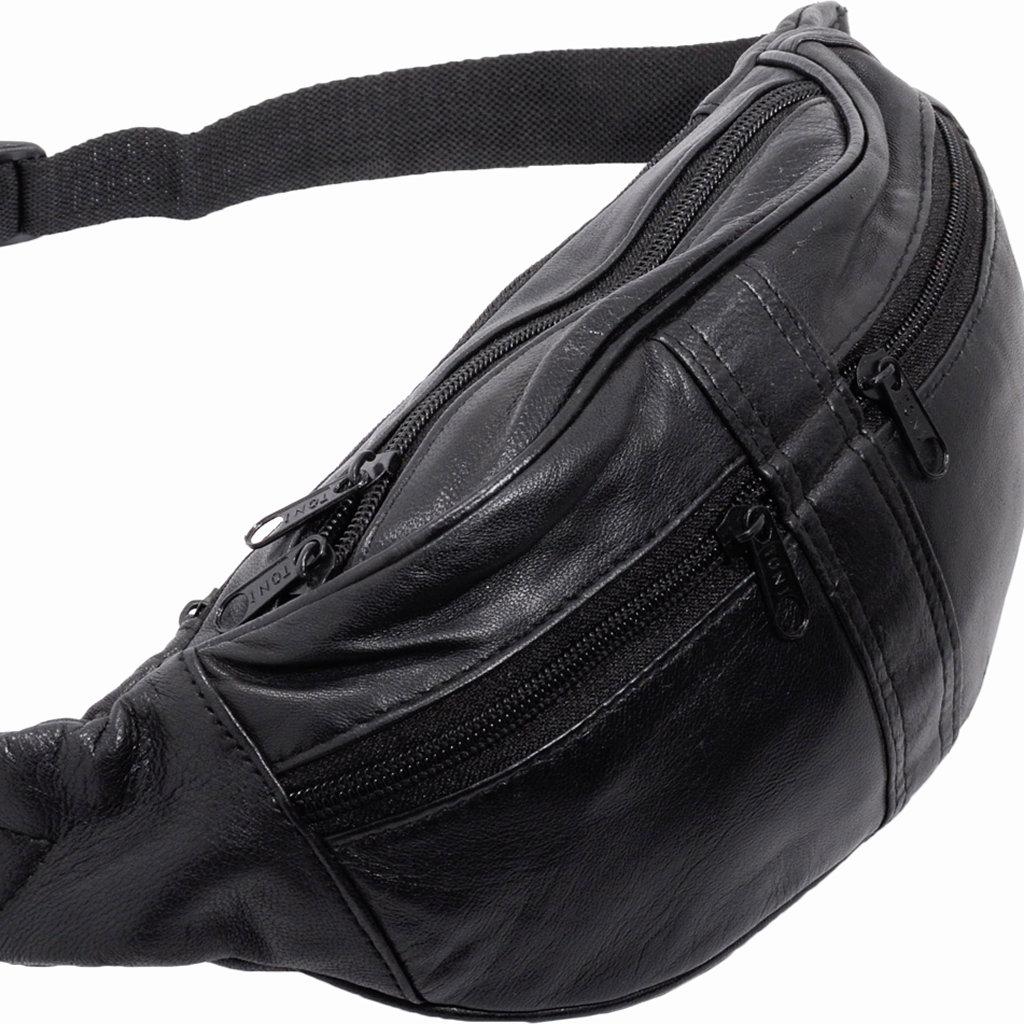 Geschenkidee, Lamm Nappa Leder, Bauchtasche Nappa Leder Farbe schwarz 2-Front-Reißverschlüsse