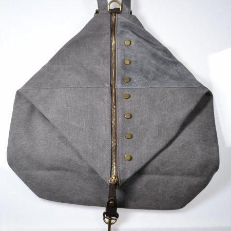 Handtasche Ledertasche Canvasbeuteltasche grau Rucksack