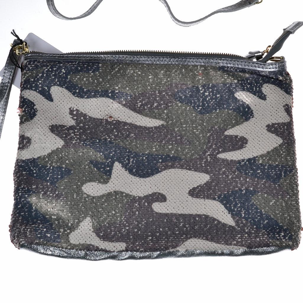Clutch Pailletten Leder Camouflage Handgelenktasche Abendtasche Envelope Clutch