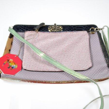 Ledertasche ebarrito ISTAR BAG XL Perlmutt Rosé Abendtasche Unikat