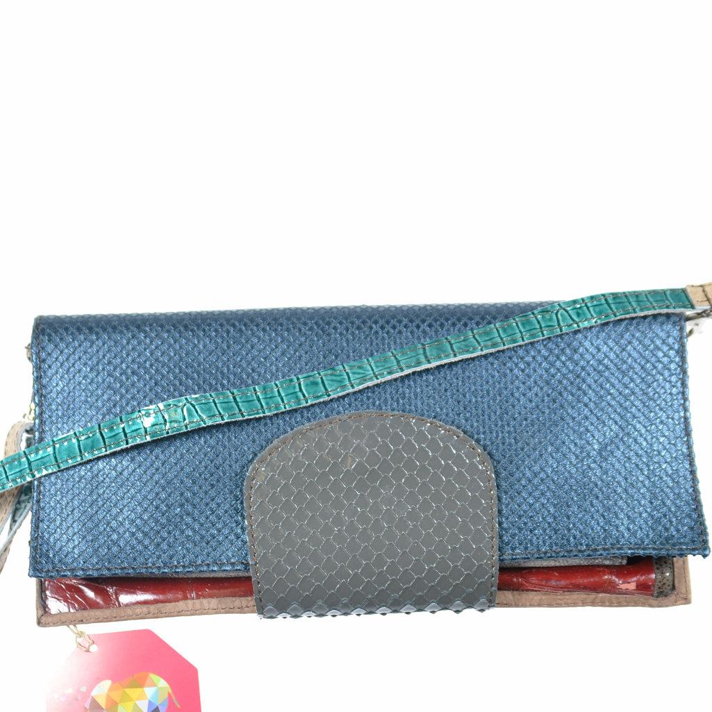 5c438529616dc Unikat Tasche Clutch bunt aus Leder handgefertigt von ebaritto