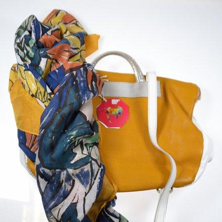 Damenhandtasche Unikat ebarrito weiß gelb Rucksack