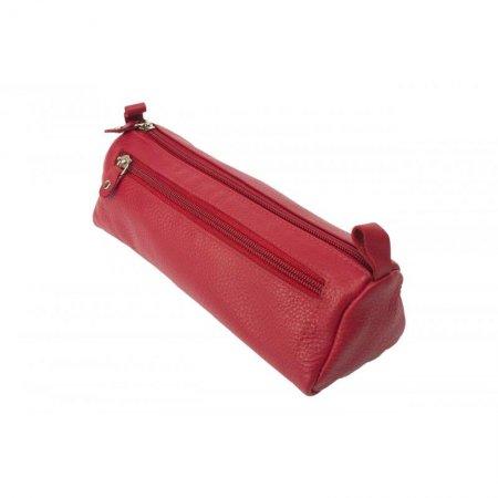 Für Schule und Büro, Stifte Etui Stiftemäppchen Schulmäppchen echtes Leder Farbe rot