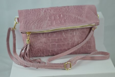 Damenhandtasche Echtleder Rosa Krokooptik Clutch