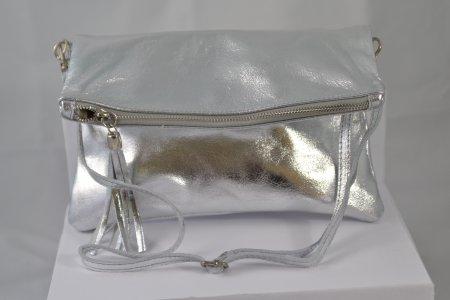 Damenhandtasche Echtleder Clutch Metalliclook silber
