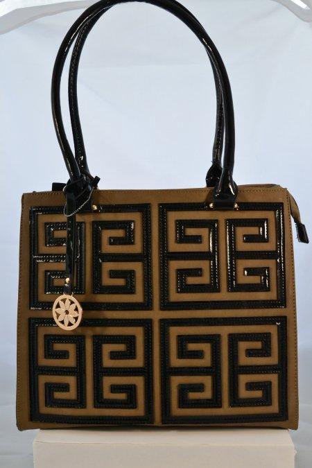 Damenhandtasche Henkeltasche braun taupefarben schwarz Lackhenkel