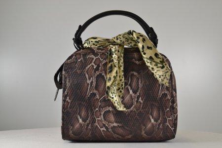 Damenhandtasche klein Farbe coffee Schlangenlederoptik Abendtasche
