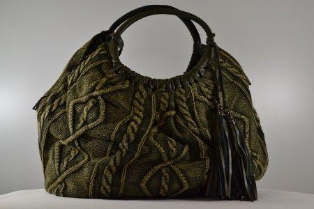 Damenhandtasche Kunstleder Stofftasche military grün Henkeltasche