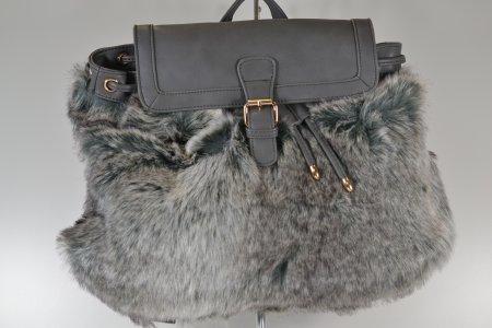 Rucksack grau Lederoptik Kunstfell Damenhandtasche