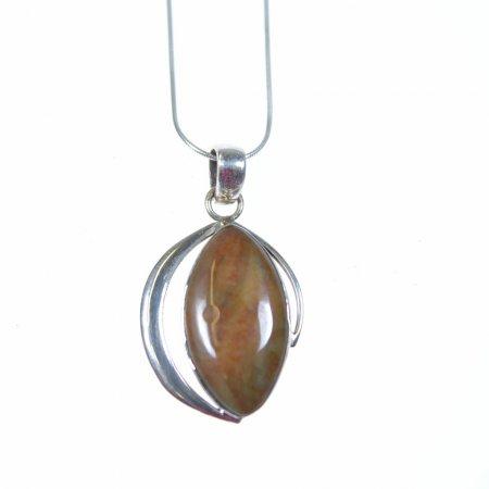Damenhalskette kurz Stein braun Tropfenform Kette und Fassung Echt Silber