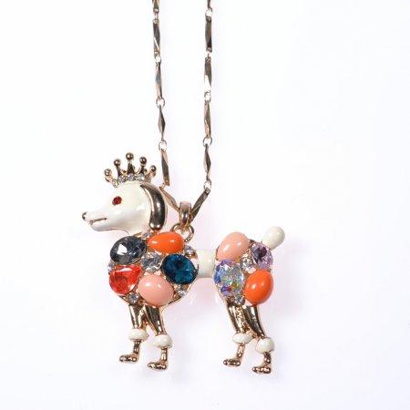 Damenhalskette Hund bunt Strass Modeschmuck Pudel