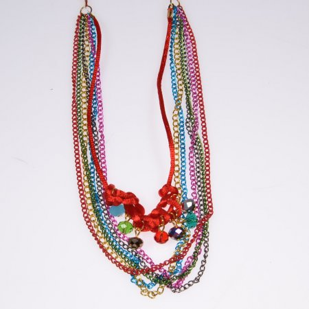Halskette bunt Ethno Glasperlen Stoff