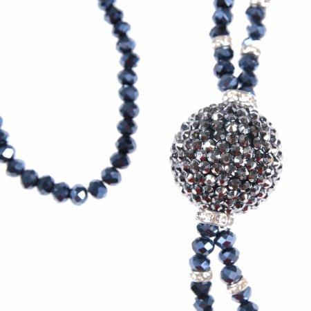Damenhalskette lang dunkelgrau Glitzerkugel Halskette