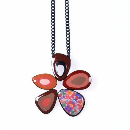 Halskette Damen Anhänger rot Emaille