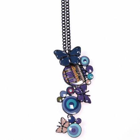 Halskette Anhänger Schmetterling Emaille Farbtöne Lila Modeschmuck