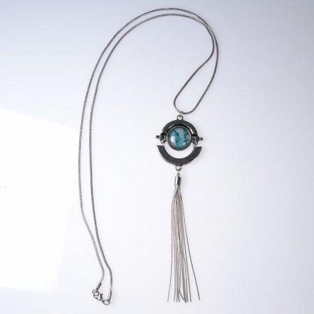Halskette lang silberfarben Stein türkis Quaste