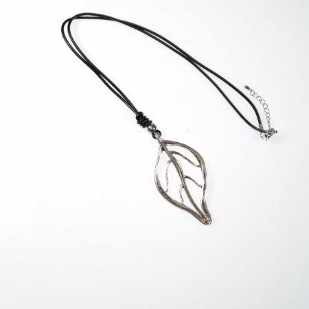 Halskette Modeschmuck Halskette lang Anhänger Blatt silberfarben