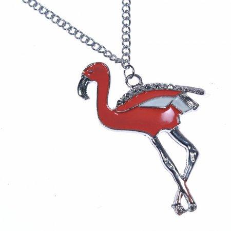 Halskette lang Anhänger Flamingo rot silber Modeschmuck