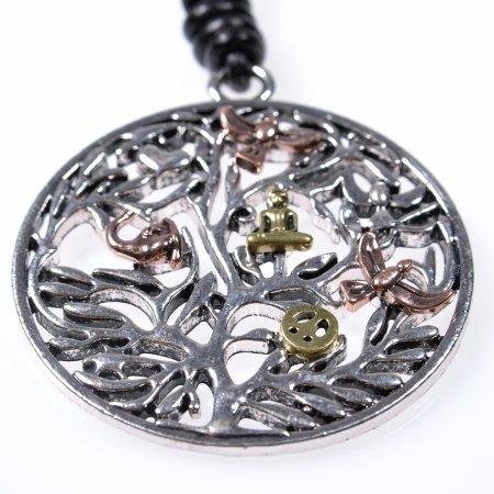 Halskette lang Lederband schwarz Anhänger rund Motive bunt