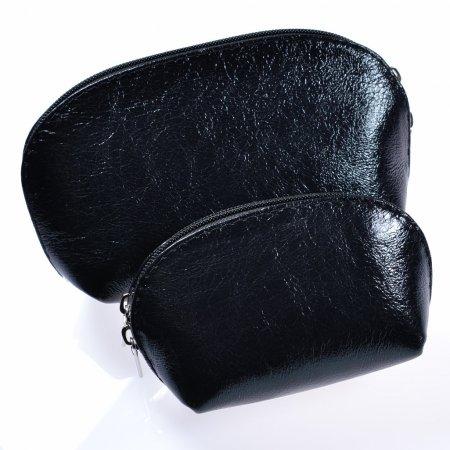 Kosmetiktasche Set Leder schwarz Kosmetikbox Make up Tasche
