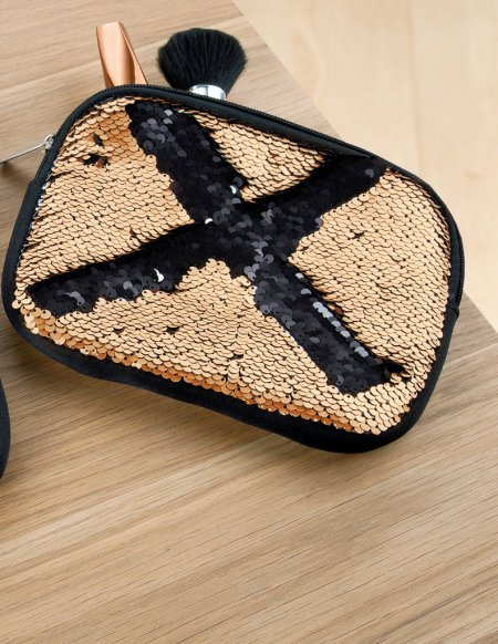 Tasche für Kosmetik Pailletten Kosmetiktasche gold schwarz make up box utils bag