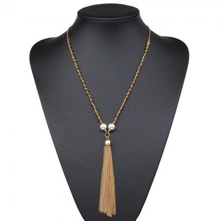 Elegant und zeitlos Kette goldfarben Anhänger Quaste Perlen Modeschmuck