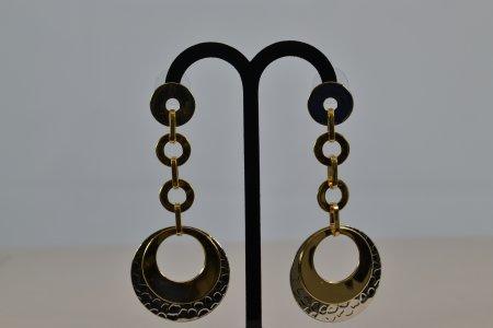 Accessoires Damen Ohrringe silberfarben Ohrstecker goldfarbene Plättchen