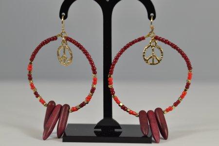 Modeschmuck Damenohrringe Creolen goldfarben Perlen rot und goldfarben