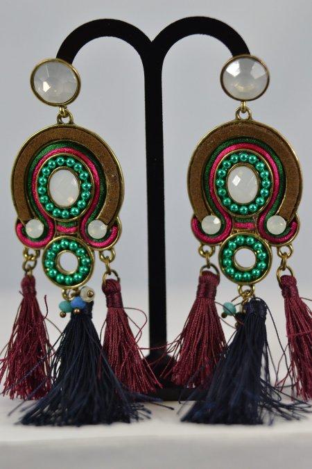 Modeschmuck Accessoires Damenohrringe goldfarben Quasten Ohrstecker lang