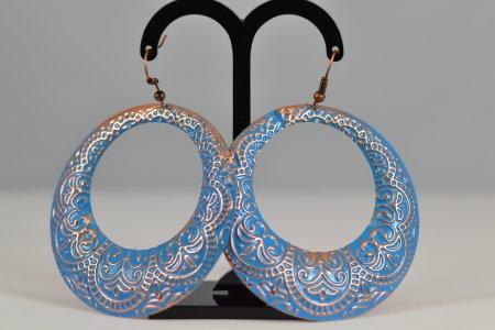 Modeschmuck Damenohrringe Creolen rosegoldfarbene Ornamente Ohrhänger